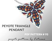 Peyote triangle pattern with instruction, native peyote pattern, native american pattern, native stitch, triangle peyote pendant #93