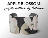 Peyote pattern bracelet, wide cuff pattern, even peyote stitch, peyote pattern, DIY jewelry - APPLE BLOSSOM, 5 colors only, Instant download