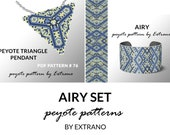 Peyote set, bracelet with pendant pattern, peyote set, uneven peyote pattern, triangle peyote pattern, pattern for beaded set AIRY