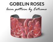 Bead Loom Pattern, Loom Tutorial, Beading Pattern, Loom Beading Pattern, Bracelet Tutorial, Bracelet Pattern, Loom Pattern - GOBELIN ROSES