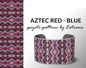 Beading pattern, pattern for bracelet, peyote pattern, peyote bracelet, bracelet pattern, peyote native, uneven peyote - AZTEC RED-BLUE