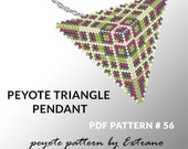 Peyote triangle pattern with instruction, peyote triangle instruction, triangle peyote pattern, native stitch, triangle peyote pendant #56