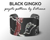 Peyote bracelet pattern, wide cuff pattern, even peyote stitch, peyote pattern, DIY jewelry, BLACK GARDEN Gingko- 5 colors, Instant download