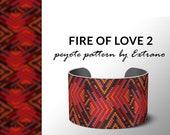 Peyote bracelet pattern, native peyote pattern,  native american, even peyote pattern, native stitch pattern, beaded bracelet FIRE OF LOVE 2