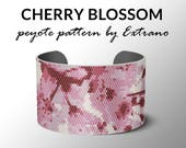 Peyote bracelet pattern, wide cuff pattern, even peyote stitch, peyote pattern, DIY jewelry, CHERRY BLOSSOM, 5 colors only, Instant download