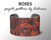 Peyote bracelet pattern, wide cuff pattern, even peyote stitch, peyote pattern, DIY jewelry - ROSES - 4 colors ONLY - Instant download