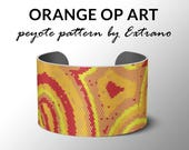 Peyote bracelet pattern, wide cuff pattern, even peyote stitch, peyote pattern, DIY jewelry - ORANGE op-art  - 5 colors - Instant download