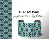 Beading pattern, pattern for bracelet, peyote pattern, peyote bracelet, bracelet pattern, peyote native, uneven peyote, native - TEAL MOSAIC