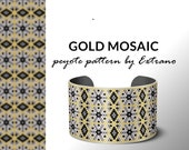 Beading pattern, pattern for bracelet, peyote pattern, peyote bracelet, bracelet pattern, peyote native, uneven peyote, native - GOLD MOSAIC