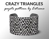 Peyote pattern, bracelet pattern, peyote bracelet, uneven peyote stitch pattern, delica pattern, 2 colors, instant download, CRAZY TRIANGLES