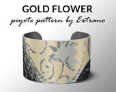 Peyote bracelet pattern, wide cuff pattern, even peyote stitch, peyote pattern, DIY jewelry - GOLD FLOWER - 4 colors only - Instant download