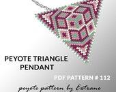 Peyote triangle pattern with instruction, native peyote pattern, native american pattern, native stitch, triangle peyote pendant #112