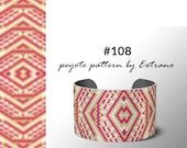 Peyote bracelet pattern, native peyote pattern, odd count, native american pattern, native stitch, pdf pattern, beaded bracelet #108
