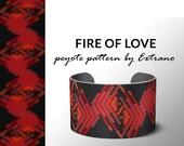 Peyote bracelet pattern, native peyote pattern,  native american, even peyote pattern, native stitch pattern, beaded bracelet FIRE OF LOVE