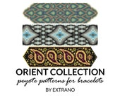 Peyote bracelet patterns, uneven peyote pattern, mosaic peyote pattern, navy american, peyote pattern, bracelet tutorial ORIENT COLLECTION