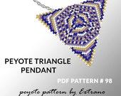 Peyote triangle pattern with instruction, native peyote pattern, native american pattern, native stitch, triangle peyote pendant #98