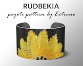 Peyote bracelet pattern, wide cuff pattern, even peyote stitch, peyote pattern, DIY jewelry - RUDBEKIA - 5 colors ONLY - Instant download