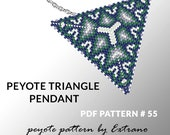 Peyote triangle pattern with instruction, peyote triangle instruction, triangle peyote pattern, native stitch, triangle peyote pendant #55