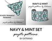Bracelet with pendant pattern, peyote tutorial, uneven peyote pattern, triangle peyote pattern, pattern for beaded set NAVY & MINT