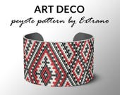 Peyote pattern, bracelet pattern, peyote bracelet, even peyote stitch pattern, delica pattern, 3 colors, PDF, instant download - ART DECO