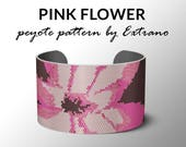 Peyote bracelet pattern, wide cuff pattern, even peyote stitch, peyote pattern, DIY jewelry - PINK FLOWER - 4 colors only - Instant download