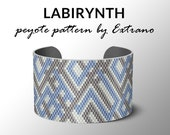 Peyote pattern, bracelet pattern, peyote bracelet, even peyote stitch pattern, mozaic pattern, native pattern, native peyote- LABIRYNTH