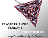 Peyote triangle pattern with instruction, peyote triangle instruction, triangle peyote pattern, native stitch, triangle peyote pendant #31