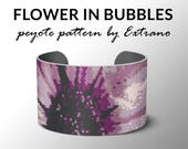 Peyote bracelet pattern, wide cuff pattern, even peyote stitch, peyote pattern, DIY jewelry - FLOWER in BUBBLES - 8 colors, instant download