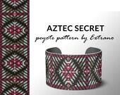 Peyote bracelet pattern, native peyote pattern, odd count, native american pattern, native stitch, pdf pattern, beaded bracelet AZTEC SECRET