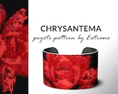 Peyote pattern, bracelet pattern, peyote bracelet, even peyote stitch pattern, delica pattern, 6 colors, PDF, instant download - CHRYSANTEMA