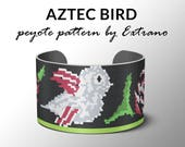 Bracelet peyote pattern, peyote bracelet, even peyote stitch pattern, delica pattern, 8 colors, PDF, instant download - AZTEC BIRD