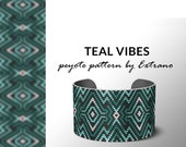 Peyote pattern bracelet, uneven peyote pattern, even peyote stitch, peyote pattern, native jewelry, spiritual jewelry, peyote TEAL VIBES