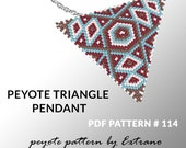 Triangle peyote pattern, peyote triangle pattern with instruction, peyote triangle how to, native stitch, red triangle peyote pendant #114