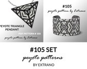 Bracelet with pendant pattern, peyote tutorial, uneven peyote pattern, triangle peyote pattern, pattern for beaded set #105 set