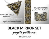 Peyote set, bracelet with pendant pattern, peyote set tutorial, uneven peyote pattern, triangle peyote pattern, pattern for set BLACK MIRROR
