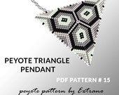 Peyote triangle patterns with instruction, peyote triangle instruction, triangle peyote pattern, native stitch, triangle peyote pendant #15