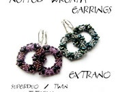 Superduo earrings tutorial, seed bead earrings, earrings tutorial, earrings pattern, superduo pattern, DIY jewelry - NETTED WREATH Earrings