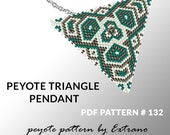 Triangle peyote pattern, peyote triangle pattern with instruction, peyote triangle how to, native stitch, red triangle peyote pendant #132