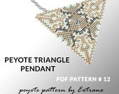 Peyote triangle pattern with instruction, peyote triangle instruction, triangle peyote pattern, native stitch, triangle peyote pendant #12