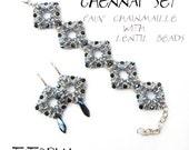 Bracelet tutorial, bracelet pattern, lentil beads pattern, bracelet tutorial, geometric pattern, wide cuff, beading tutorial, CHENNAI SET
