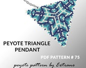 Peyote triangle pattern with instruction, peyote triangle instruction, triangle peyote pattern, native stitch, triangle peyote pendant #75