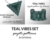 Peyote set, bracelet with pendant pattern, peyote set, uneven peyote pattern, triangle peyote pattern, pattern for beaded set TEAL VIBES