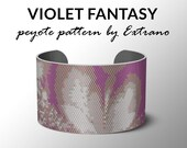 Peyote bracelet pattern, wide cuff pattern, even peyote stitch, peyote pattern, DIY jewelry - VIOLET FANTASY - 4 colors - Instant download