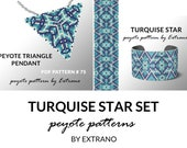 Bracelet with pendant pattern, peyote tutorial, uneven peyote pattern, triangle peyote pattern, pattern for beaded set TURQUISE STAR set