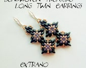 Superduo earrings tutorial, long earrings tutorial, earrings pattern, superduo pattern, seed bead earrings - LONG TWIN Earrings