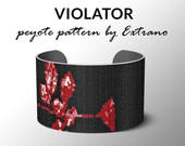 Peyote bracelet pattern, wide cuff pattern, even peyote stitch, peyote pattern, DIY jewelry - VIOLATOR - 4 colors ONLY - Instant download