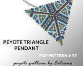 Peyote triangle pattern with instruction, native peyote pattern, native american pattern, native stitch, triangle peyote pendant #97