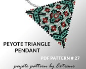 Peyote triangle pattern with instruction, peyote triangle instruction, triangle peyote pattern, native stitch, triangle peyote pendant #27