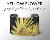 Bracelet peyote pattern, peyote bracelet, even peyote stitch pattern, delica pattern, 7 colors, instant download -  YELLOW FLOWERS