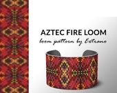 Bead Loom Pattern, Loom Tutorial, Beading Pattern, Loom Beading Pattern for bracelet, Bracelet Pattern, AZTEC FIRE native loom pattern
